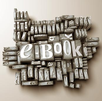 Photo: block of old fashioned type spelling out e-book