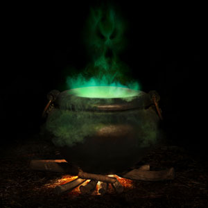 Caldron with green brew