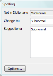 Spell check suggests subnormal for msoNormal