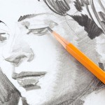 Drawing of girl's face with 3D pencil